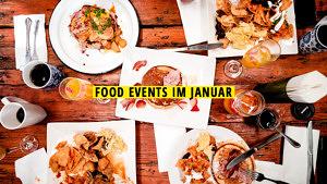 Food Events im Januar Titelbild. Das Foto zeigt einen Holztisch, darauf Teller mit Pancakes und herzhaftem Frühstück.