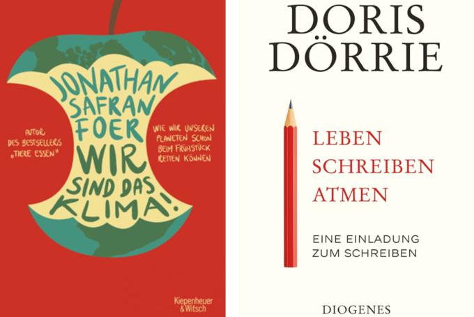 Buchcover, Jonathan Safran Foer, Wir sind das Klima und Doris Dörrie: Leben, Schreiben, Atmen
