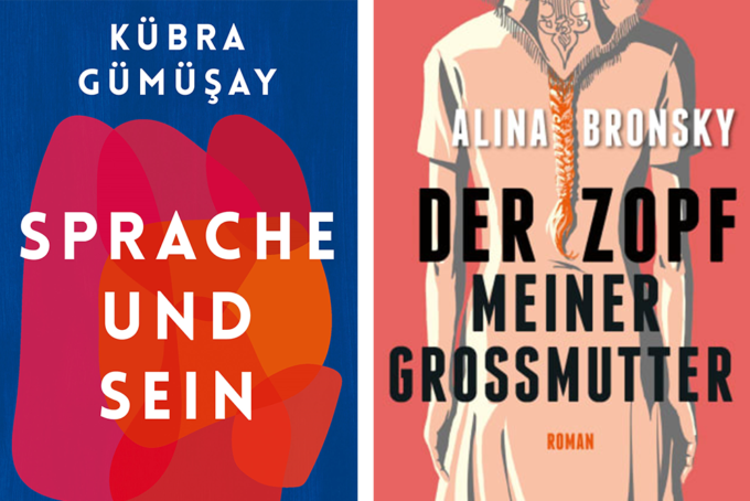 Buchcover: Kübra Gümüşay: Sprache und Sein | Alina Bronsky: Der Zopf meiner Mutter