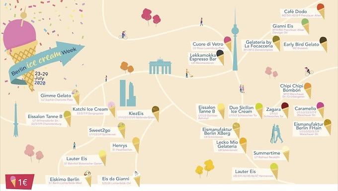 Karte der 25 teilnehmenden Eisdielen der Berlin Ice Cream Week 2020