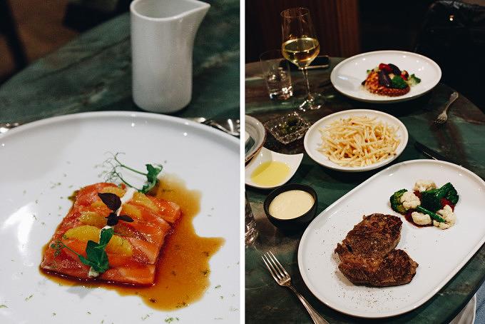 Lachs Sashimi und Hauptspeisen im Restaurant Osterberger in Mitte