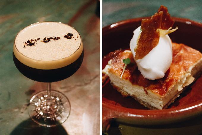 Espresso Martinin und Cheesecake mit Zitroensorbet im Restaurant Osterberger