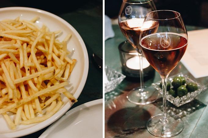 Pommes Allumettes und Champagner im Restaurant Osterberger