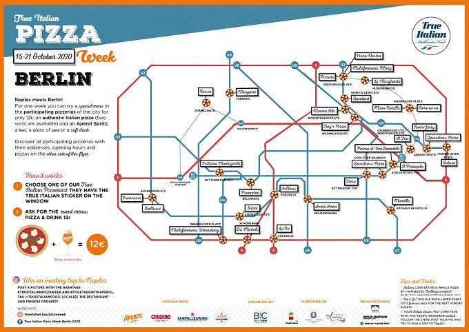 True Italian Pizza Week-Karte der teilnehmenden Pizzerien